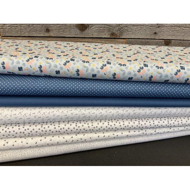 PAKKE til patchwork tæppe. 130 x 160 cm. Dush blå-sort-hvid
