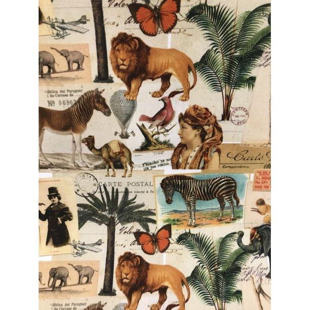 Canvas fast bomuld. Safarie tema med masser af dyr i brændte farver