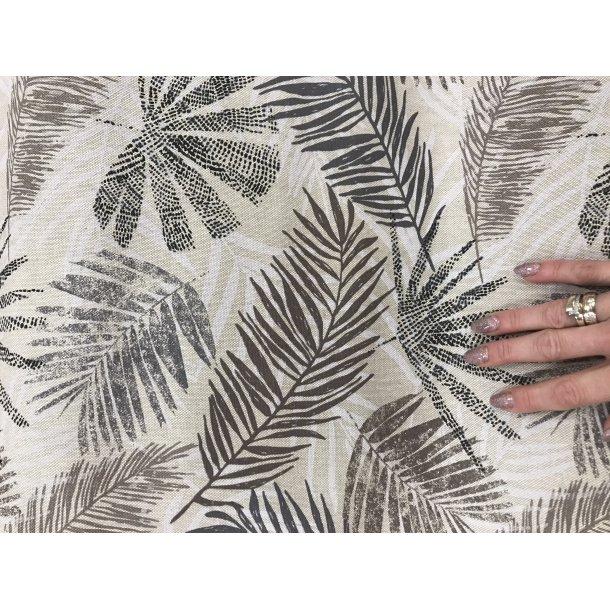 Canvas fast bomuld. Hør look bund med blade i grå og brunlige farver