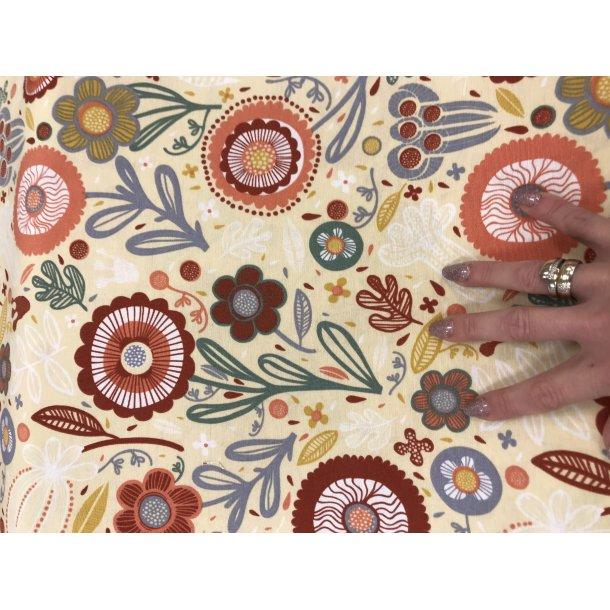Canvas fast bomuld. Retro blomster i lyse brændte farver