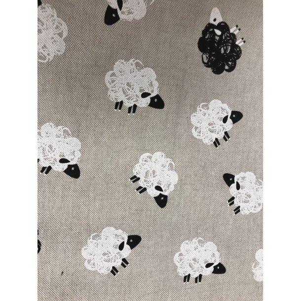 Canvas fast bomuld. Hør look bund med uldne får og et lille sort får. (sjov strikke taske måske)