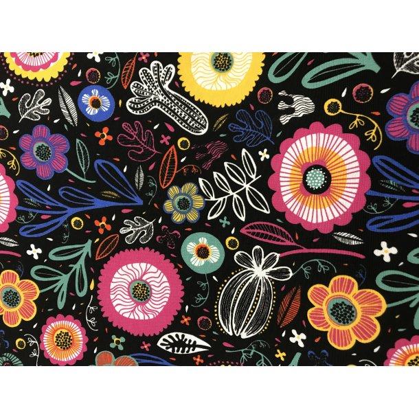 Canvas fast bomuld. Sort bund med tegnede blomster i klare farver.
