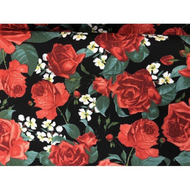 Canvas fast bomuld. Sort bund med røde roser