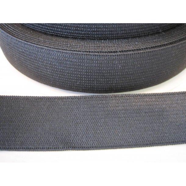 Elastik, Sort 2,5 cm, pk. á 4 m