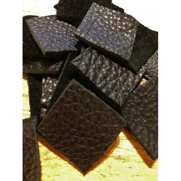 Læder lappe sæt, sort 3x3 cm, sæt á 2 stk.