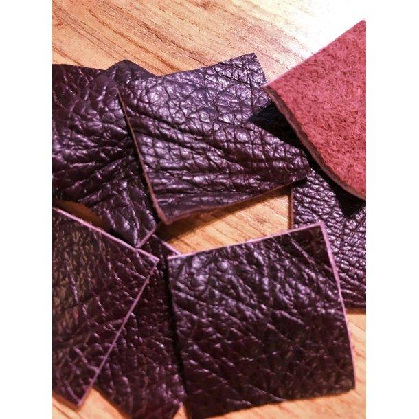 Læder lappe sæt, Bordeaux 3x3 cm, sæt á 2 stk.