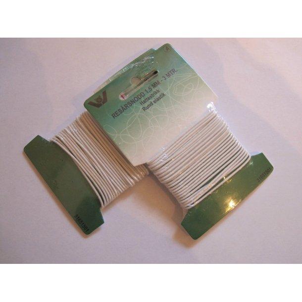Elastik, hvid 1,5 mm rund elastik pakke á 3 m