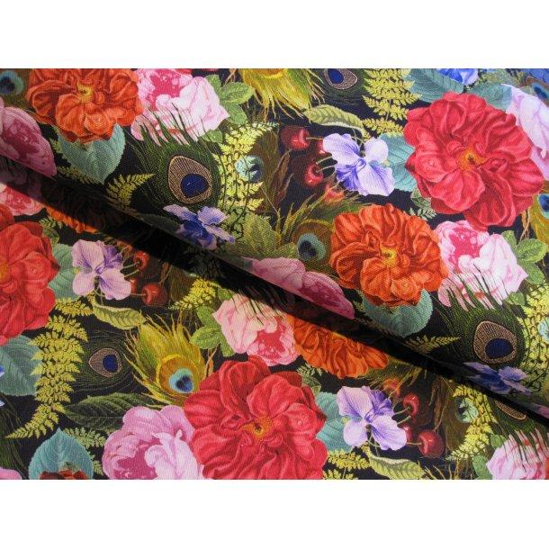 Fast bomuld lærred, smukke orange/pink blomster m. påfugle fjer