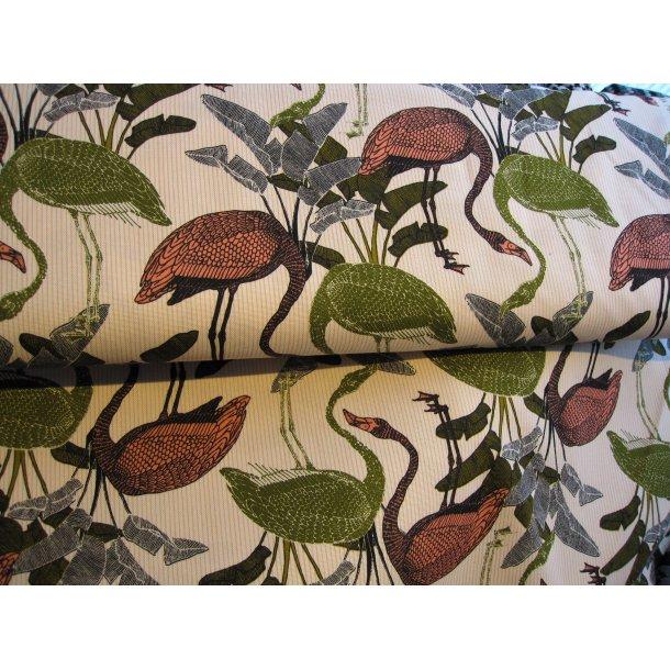 Fast bomuld lærred, Koral/army grønne flamingo, lys bund m. gule smalle striber