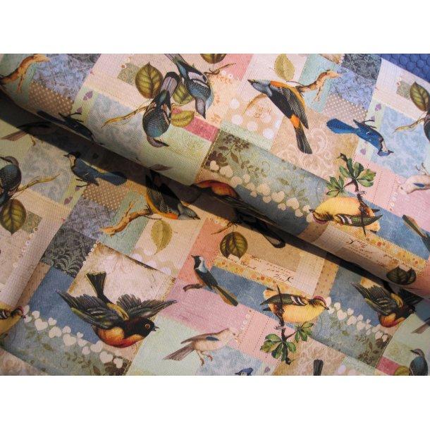 Fast bomuld lærred, flotte fugle i firkanter og mange farver