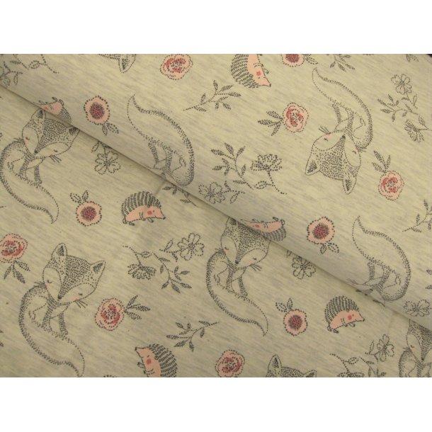 Jersey, hyggelige stregtegnede ræve og pindsvin m. lyse rød effekt, lys grå meleret bund
