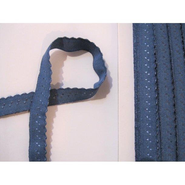 Folde elastik, 1 cm støvet blå fv. 18