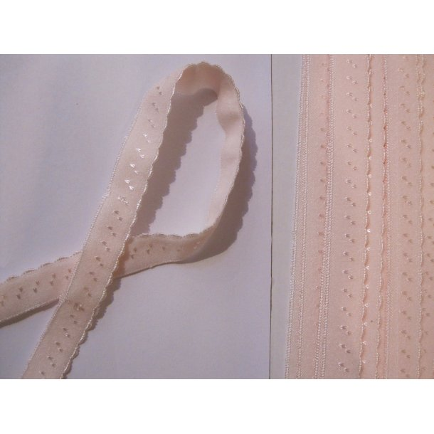 Folde elastik, 1 cm sart lyserød, fv. 20