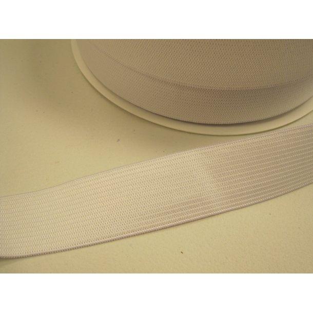 Elastik, 2,5 cm hvid, sælges pr. m.