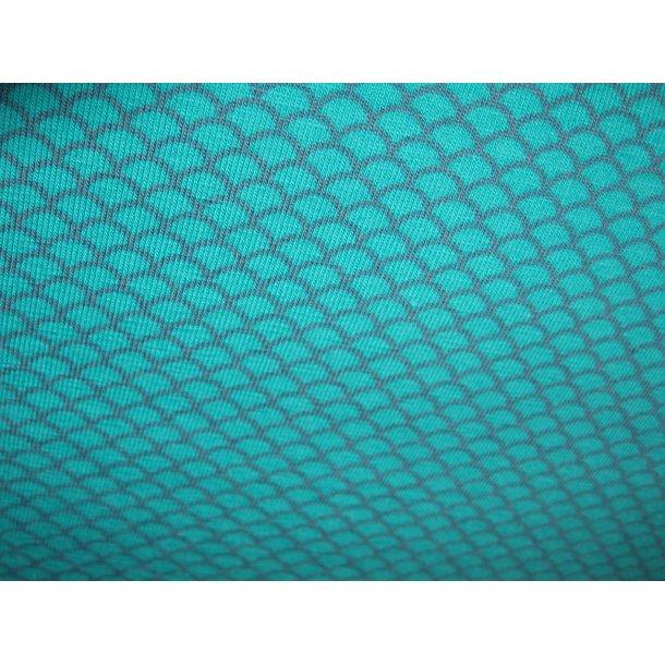 Jersey, lille vifte bue mønster, turkis m. grå effekt