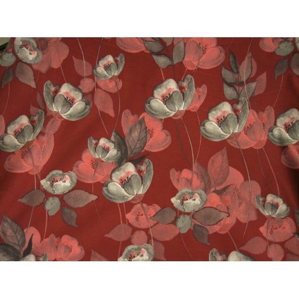 Jersey soft skin, blomst i grå og rosa, dyb bordeaux bund