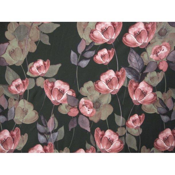 Jersey soft skin, rosa blomster, dyb grøn bund, med støvet grønne blade