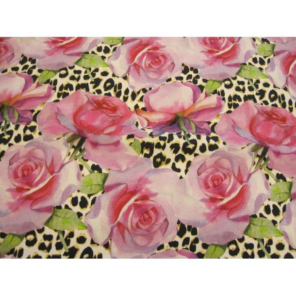 Jersey digital, flotte lyserøde rosenhoveder, lys leopard bund