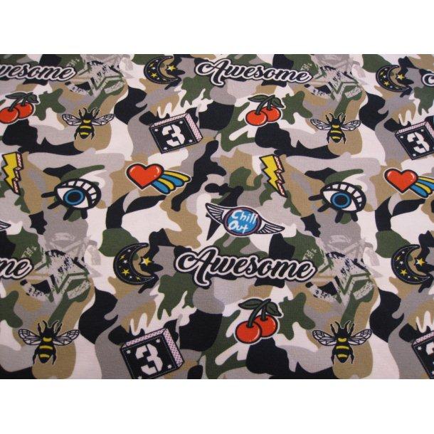 Jersey digital, carmoflage m. forskellige motiver øjr/hjerte/kirsebær/bi o.m.m.