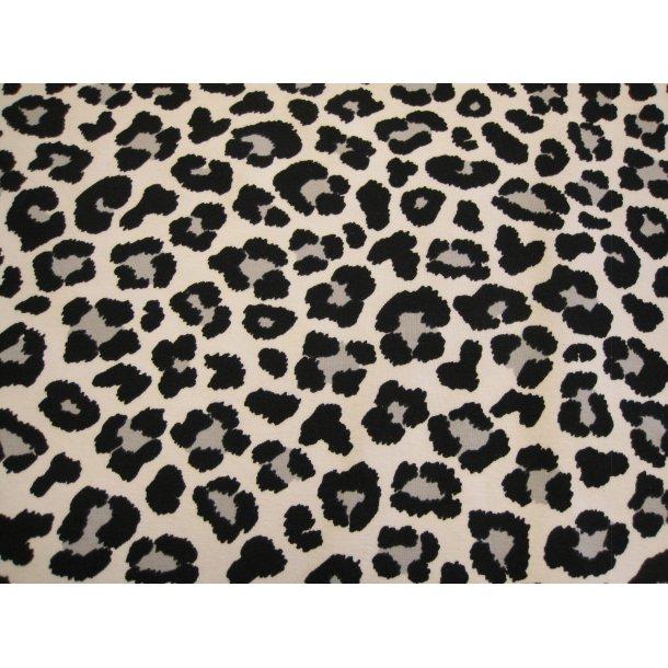 Jersey, leopard prik m. grå midte, hvid bund