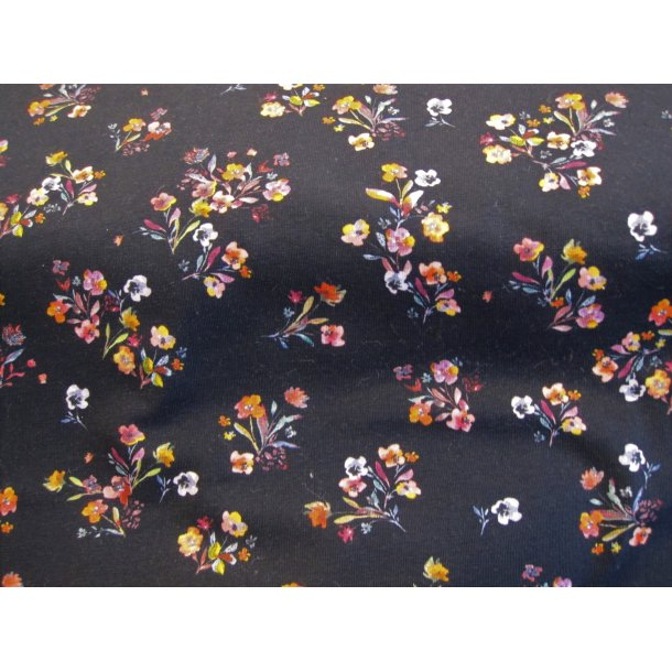 Jersey digital, små blomster buketter, gul/lyserød/hvid/rød, sort bund
