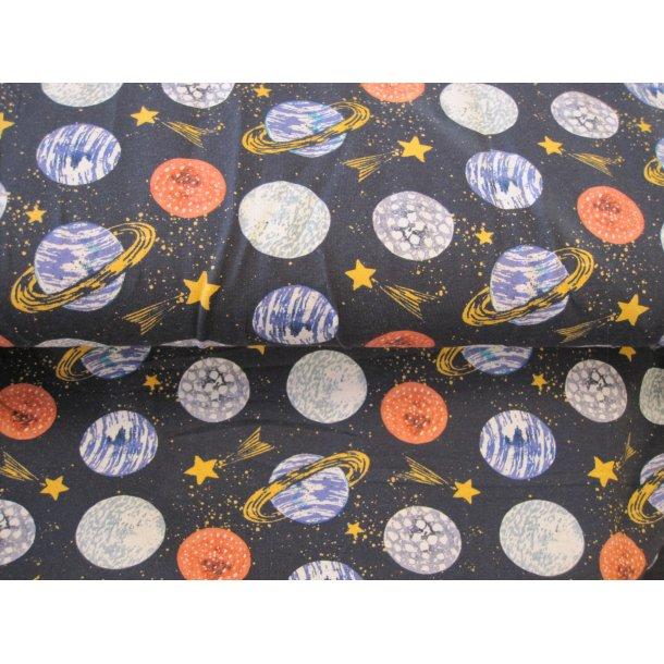 Jersey digital, planeter og stjerneskud på himlen, blå bund