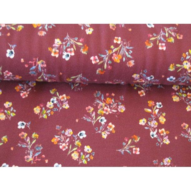 Jersey digital, små blomster buketter, gul/lyserød/hvid/rød, bordeaux bund