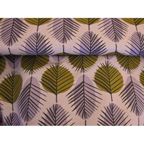 Fast bomuld canvas, sorte stregtegnede blade på grå og karry pletter, natur bund