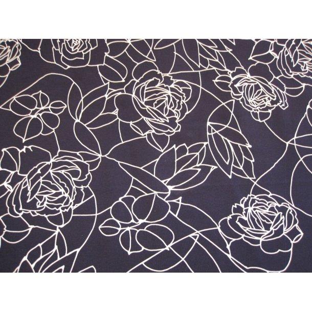 Jersey digital, hvide stregtegnede roser, blå bund