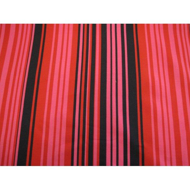 Jersey strib, forskellige størrelser i farverne sort/rød/pink
