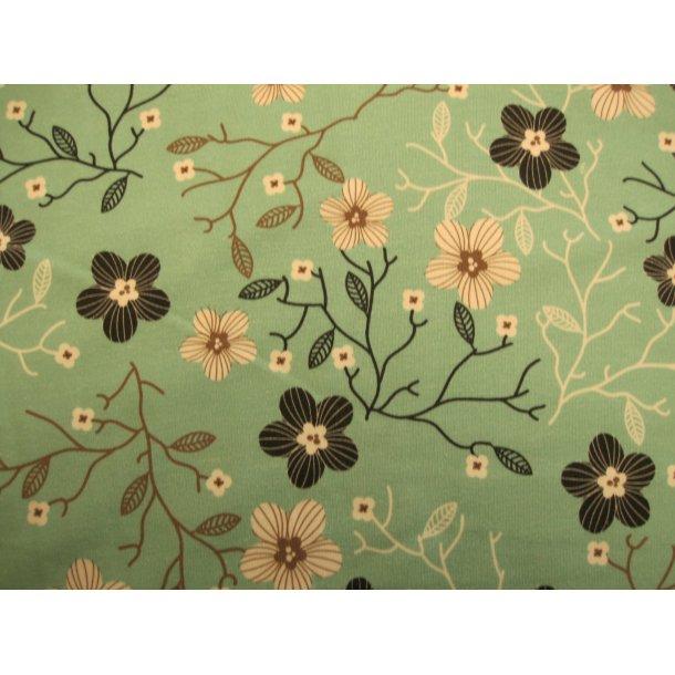 Jersey, sorte/råhvide stregtegnede blomster m brune detaljer, grøn bund