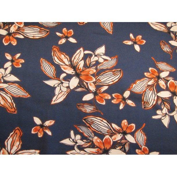 Jersey, hvide blomster m. rust effekt, blå bund