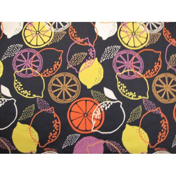 Jersey, hvid/orange/gul/lilla citrus, sort bund
