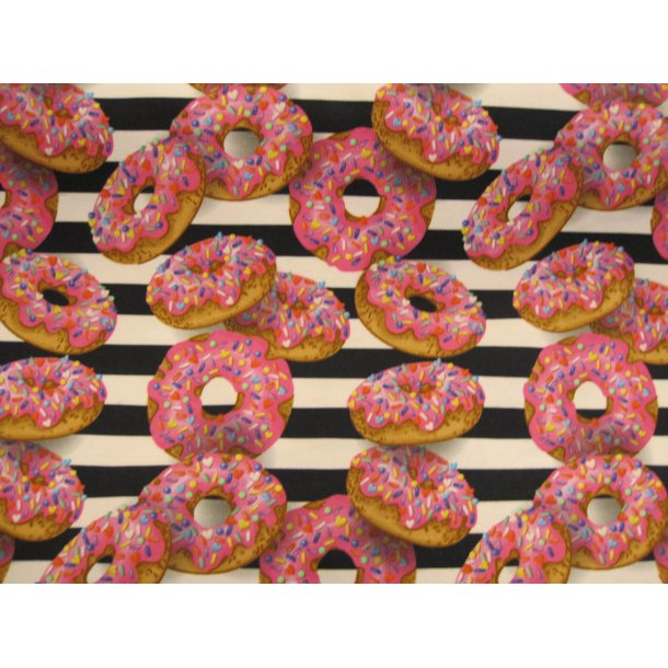 Jersey digital, donuts m, pink glasur og tivoli krymmel, sort/hvid strib