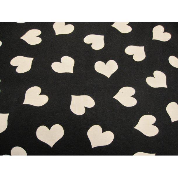 Jersey, hvide hjerter, sort bund