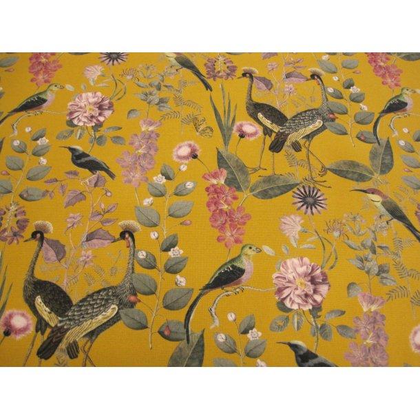 Fast bomuld canvas, flotte eksotiske fugle, lilla blomster m. grå blade, karry bund