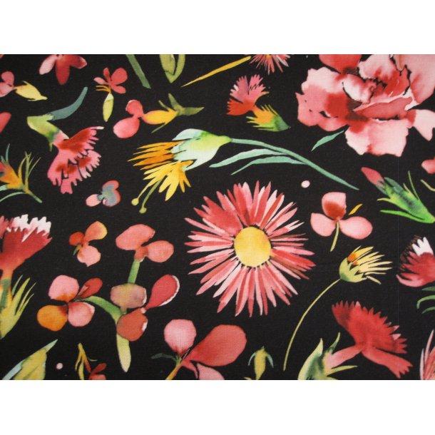 Fast bomuld lærred, lyserøde/bordeaux blomster, sort bund