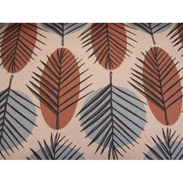 Fast bomuld canvas, sorte stregtegnede blade på lyseblå/brune pletter, natur bund