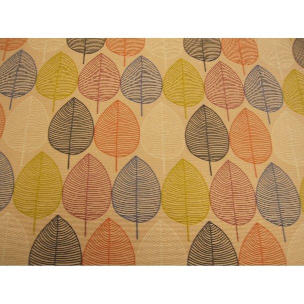 Fast bomuld lærred, blå/karry/orange/lilla/hvid/sorte stregtegende blade, lyserød bund