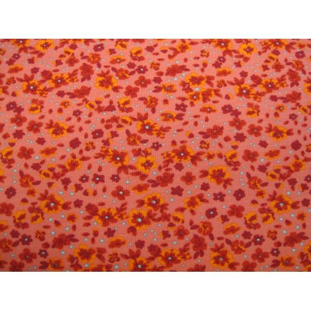 Jersey, små orange/røde blomster, grå små prikker, lyserød bund