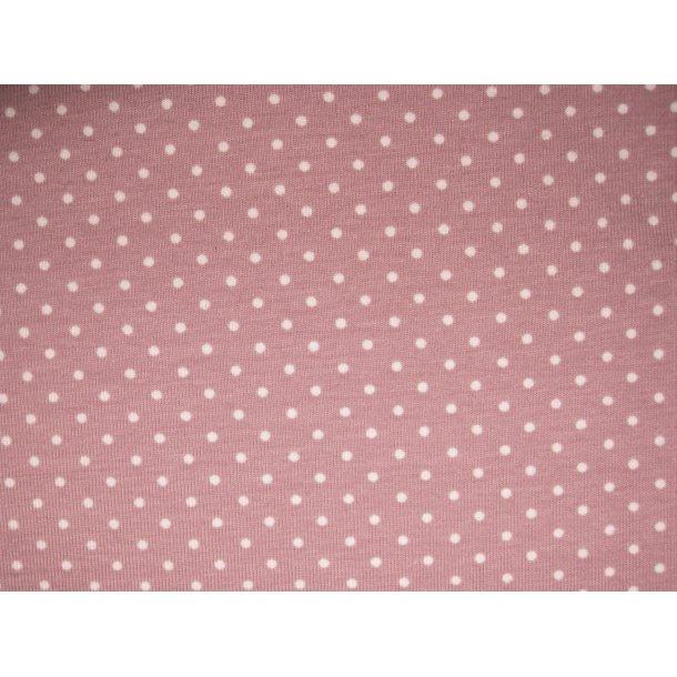 Jersey prik, mini hvid, gammel rosa bund