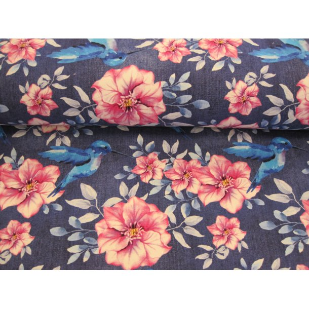French Terry, lyserøde blomster og blå kolibri m.