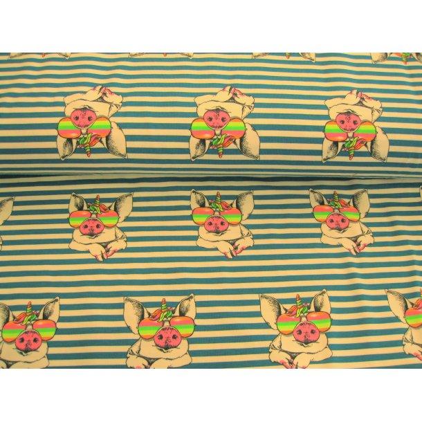 Jersey digital, skønne grise m regnbue solbriller og enhjørning, hvid/grønlig petrol strib