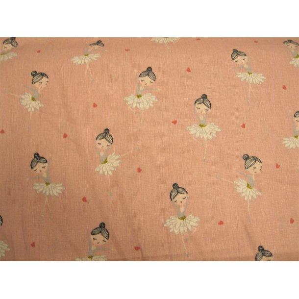Fast bomuld, Blomst ballerina m. hjerter på lyserød bund