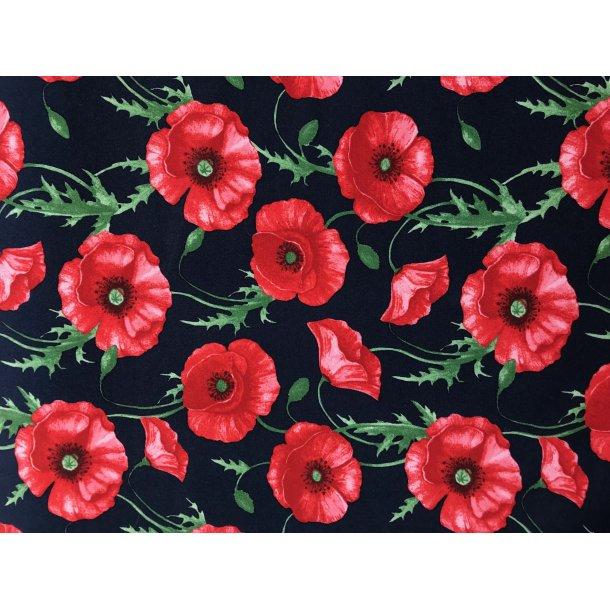 Isoli marine bund, røde valmuer, blød bagside. m/stræk