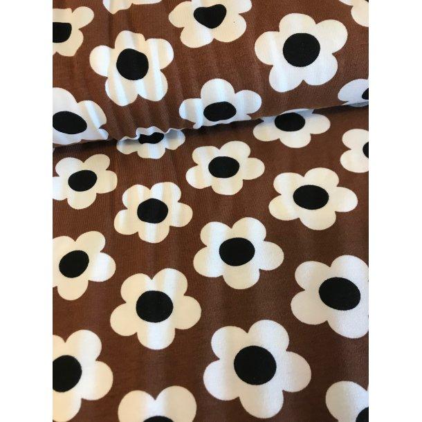 Jersey, Store hvide 5 bladet blomster, sort midte, brun bund