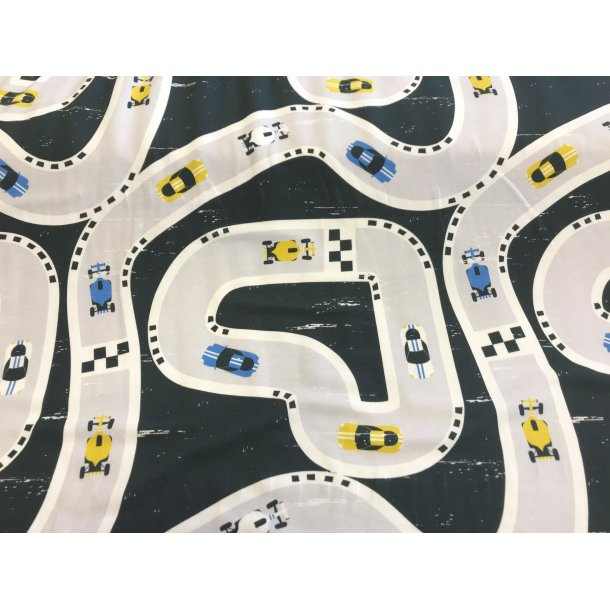 Jersey digital, racer biler på bane med blå, hvide og gule biler, koks grå bund