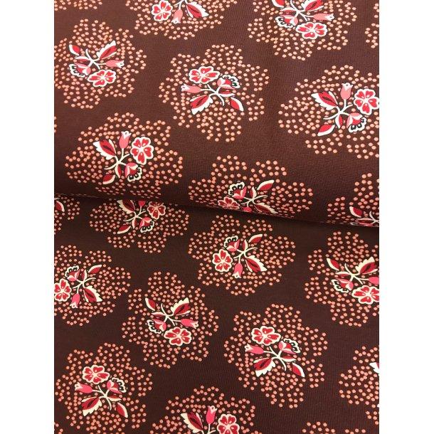 Jersey , rød/lyserød blomst på prik og ensfarvet bordeaux bund