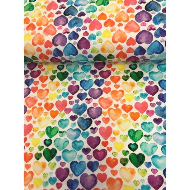 Jersey digital, hjerter i regnbuens farver, hvid bund