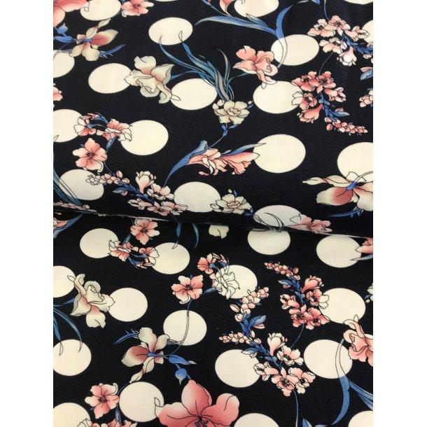 Jersey digital, gammel rosa/hvide/blå blomster m. hvide bomber, mørk blå bund